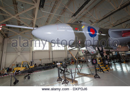 Vulcan XH558 in its hangar during maintenance overhaul . Doncaster Robin Hood Airport South Yorkshire England - Stock Photo