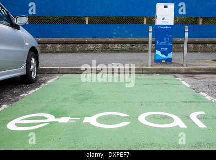 e-car charging point, Quay Street, Bangor, Co. Down, Northern Ireland - Stock Photo