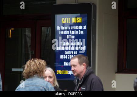 London UK. 28th March 2014. Tickets for the Kate Bush concerts have sold out in 15 minutes after the singer songwriter - Stock Photo