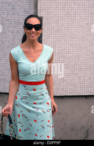 London, UK. 28th March 2014. Myleene Klass leaves the ITV studios after appearing in Loose Women in summer dress - Stock Photo