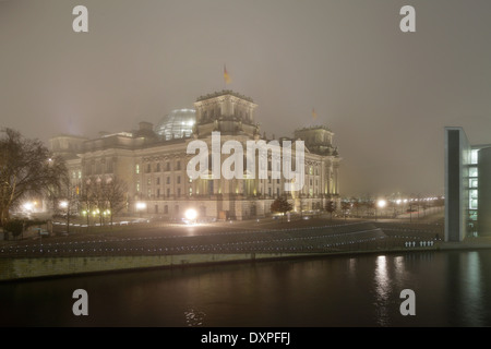 Berlin, Germany, illuminated Reichstag in the government quarter in Berlin-Mitte - Stock Photo