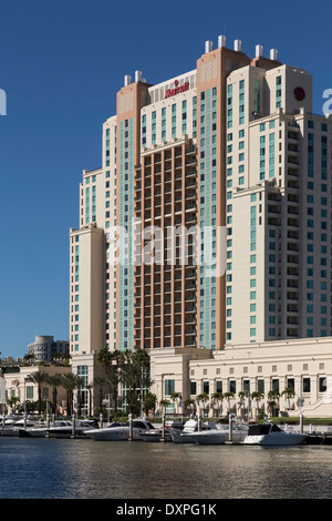 Downtown Marriott Hotel in Tampa Skyline and Hillsborough River, Tampa, FL - Stock Photo