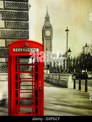 A red telephone booth in the foreground with the Big Ben behind. - Stock Photo