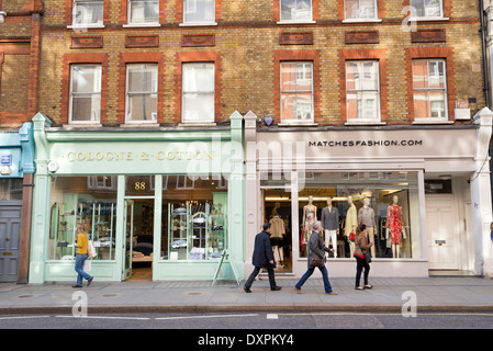 Small shops in Marylebone High Street, London, England, UK - Stock Photo