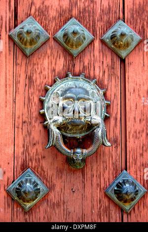 Catedral de San Ildefonso Door Knocker, Merida Yucatan Mexico - Stock Photo