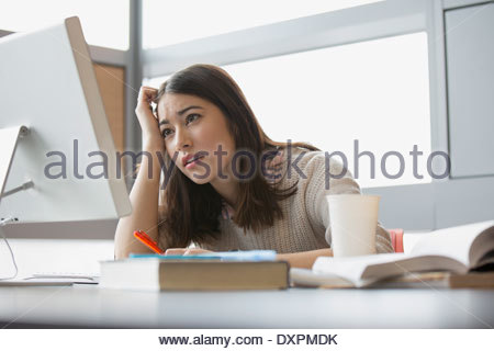 Frustrated college student studying at computer - Stock Photo