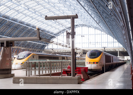 Eurostar at St Pancras International train station, London, England, UK - Stock Photo