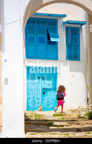 Old doorway in Sidi Bou Said, Tunisia - Stock Photo