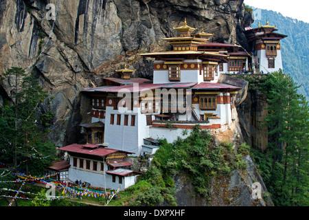 Tiger's Nest Monastery, Taktsang Palphug Monastery, Paro, Bhutan - Stock Photo