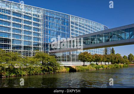 European Parliament building, Strasbourg, Alsace, France - Stock Photo