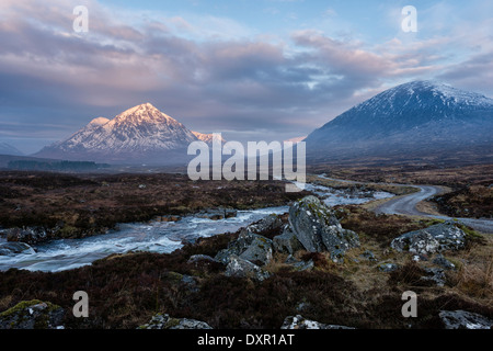 On Rannoch Moor  west of Glencoe looking towards the entrance to Glen Coe Stock Photo
