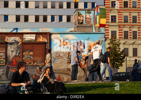 Germany, Berlin. A relaxing afternoon on the lawn of the East side gallery along the Spree. The East Side Gallery is an internat