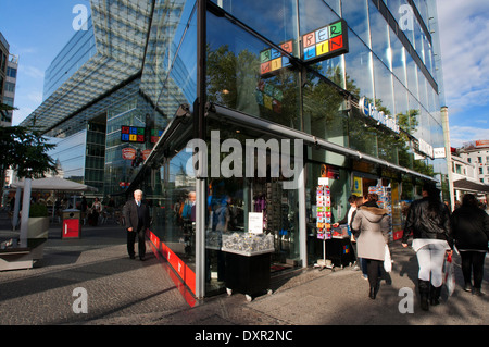 Shops behind glass facades, Neues Kranzler Eck, Berlin-Charlottenburg, Berlin, Germany, Europe. Neues Kranzler EckNeues - Stock Photo