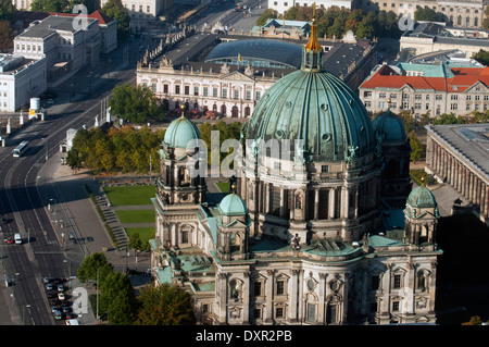 Berlin Cathedral, aerial landscape viewed from the TV tower, Berlin. The Berliner Dom (Berlin Cathedral), completed - Stock Photo