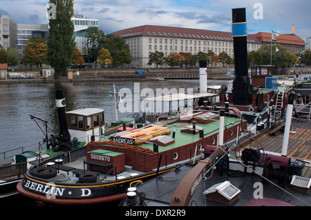 Old Harbour from Inselbruecke, Berlin, Germany. The banks of the Spree in Friedrichshain and the East Harbour offer - Stock Photo