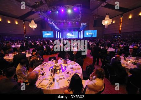 Hong Kong, China, People at a festive gala dinner - Stock Photo