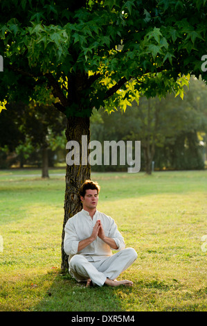 Young man meditating under a tree - Stock Photo