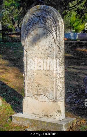 1856 Grave marker at the Columbia cemetery, California, an 1800s gold rush town - Stock Photo