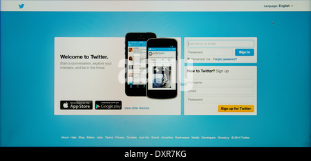 Page of registration on Twitter in  english   language - Stock Photo