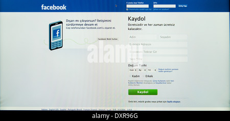 registration page on facebook in                       language - Stock Photo