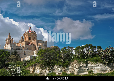 St Peters's And St Paul's Cathedral And The City Walls, Mdina, Malta. - Stock Photo