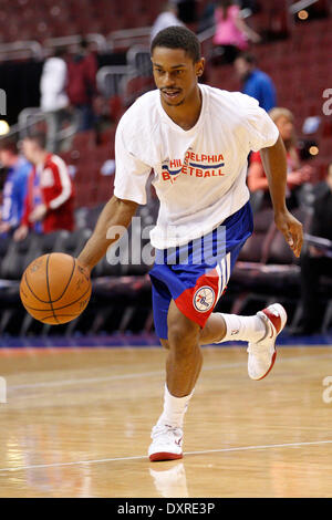 Philadelphia, Pennsylvania, USA. 29th Mar, 2014. Philadelphia 76ers guard Casper Ware (17) in actionduring warm - Stock Photo