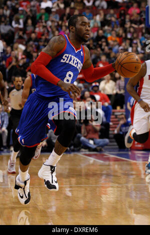 Philadelphia, Pennsylvania, USA. 29th Mar, 2014. Philadelphia 76ers guard Tony Wroten (8) in action during the NBA - Stock Photo