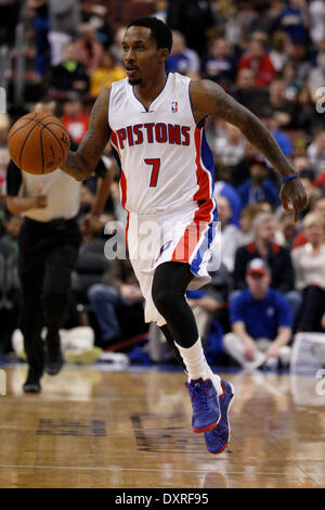 Philadelphia, Pennsylvania, USA. 29th Mar, 2014. Detroit Pistons guard Brandon Jennings (7) in action during the - Stock Photo
