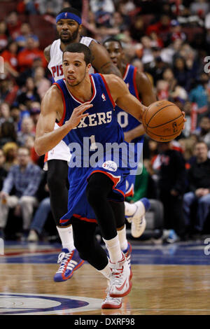 Philadelphia, Pennsylvania, USA. 29th Mar, 2014. Philadelphia 76ers guard Michael Carter-Williams (1) drives up - Stock Photo