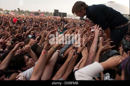 Santiago, Chile. 29th Mar, 2014. French band Phoenix performs during the Lollapalooza Festival 2014 at the O'Higgins - Stock Photo