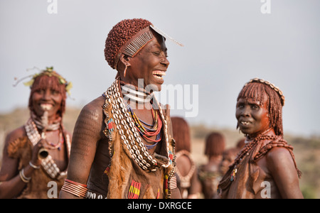 portrait of a Hamer young woman in her village near Turmi in the Omo Valley, Ethiopia - Stock Photo