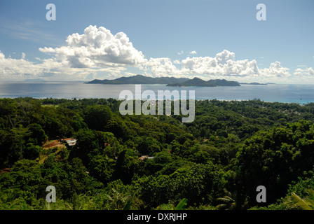 View from Belle Vue with Clouds and Islands in Distance - Stock Photo