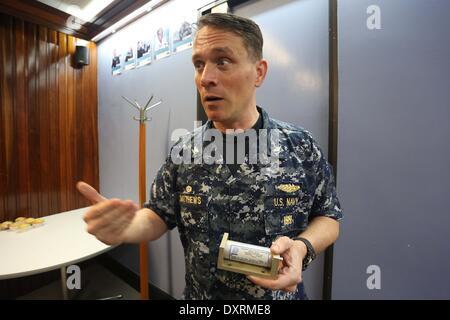 Perth, Australia . 30th Mar, 2014. U.S. Navy director of ocean engineering captain Mark Matthews introduces the - Stock Photo