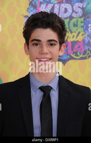 Los Angeles, CA, USA . 29th Mar, 2014. Actor Cameron Boyce arrives on the orange carpet of Nickelodeon's 27th Annual - Stock Photo