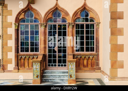 Colored Glass Door & Windows, Ca' d'Zan Mansion, Ringling Museum, Sarasota, Florida - Stock Photo