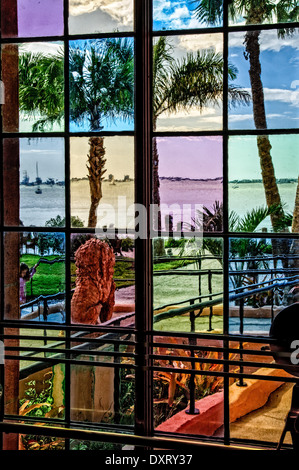 Colored Glass Door, Ca' d'Zan Mansion, Ringling Museum, Sarasota, Florida - Stock Photo