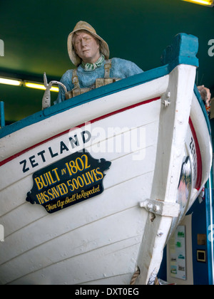 Zetland the oldest lifeboat in the world saved over 500 lives, in a museum in a coast watch look-out tower Redcar - Stock Photo