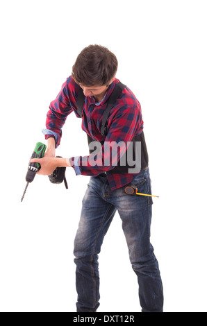 man with electric drill on a white background, handyman - Stock Photo