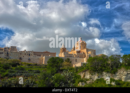 St  Peters  And Paul's Cathedral And The City Walls, Mdina, Malta. - Stock Photo