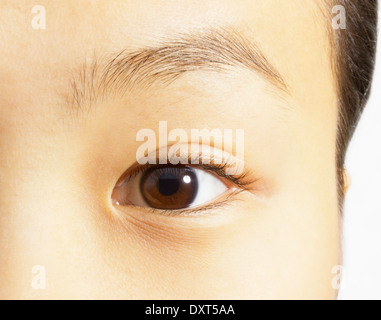 Extreme close up of brown eye - Stock Photo