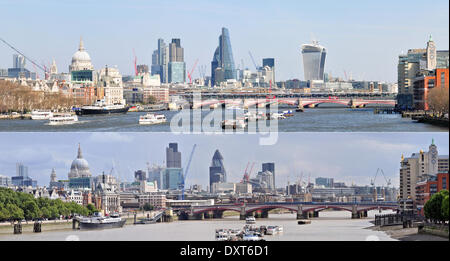 London, England - These two images were taken less than five years apart from the same spot on Waterloo Bridge, - Stock Photo