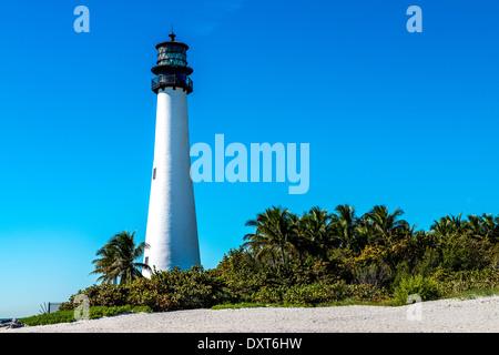 Cape Florida Lighthouse, Key Biscayne, Miami, Florida, USA - Stock Photo