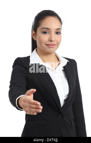 Arab business woman ready to handshake isolated on a white background - Stock Photo