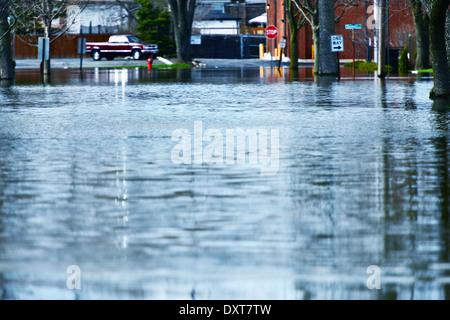 Deep Flood Water on the Street. Illinois Big Flood. - Stock Photo
