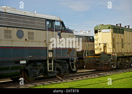 Old Out of Service Diesel Locomotives in Illinois State, USA. Railroad Photo Collection - Stock Photo