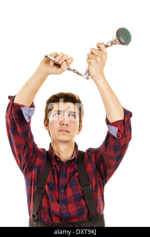 man installing a shower head - Stock Photo
