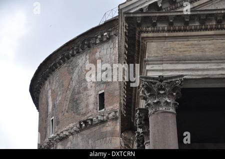 Left hand corner of Portico of Pantheon, Rome - Stock Photo