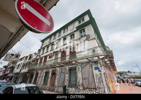Street view in in Fort de France, Martinique, French West Indies - Stock Photo