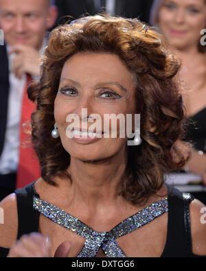 Prague, Czech Republic. 29th March, 2014. Sophia Loren pictured during the Czech Miss contest in Prague, Czech Republic - Stock Photo