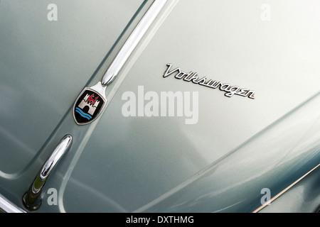 Volkswagen Beetle bonnet and chrome. - Stock Photo